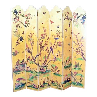1950s Vintage Birds Foliage Six Pannel Screen For Sale