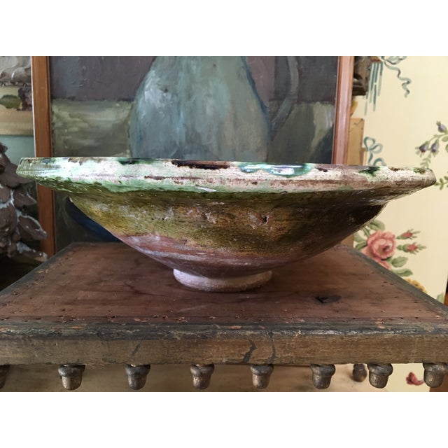 Antique French Pottery Glazed Bowl found in the south of France. Lovely colors of Green & Brown over what looks to be...
