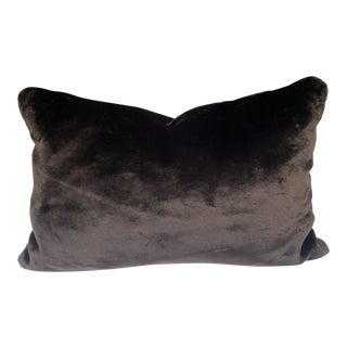 Chocolate Brown Faux Fur Feather Down Accent Pillow For Sale