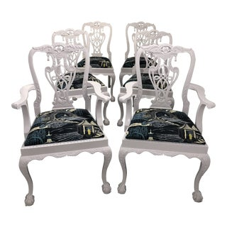 Vintage Lacquered Chippendale Chairs Upholstered in Robert Allen Neo Toile Set of 6 For Sale