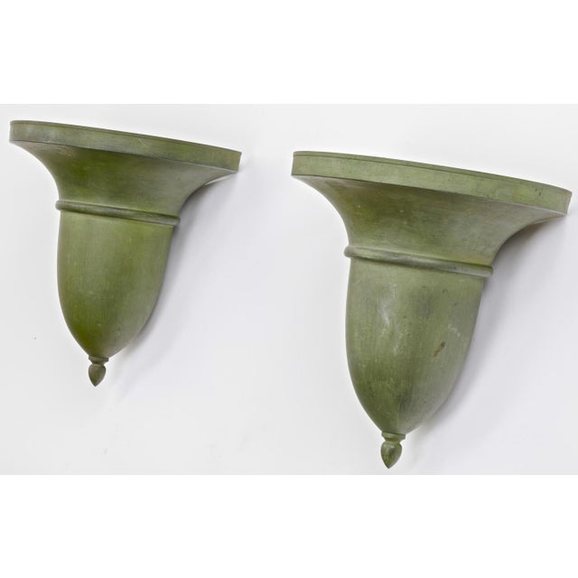Metal French Neo Classical Refined Tole Sconces With a Green Antique Patina For Sale - Image 7 of 8