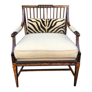 Gustavian Style Wide Club Chair W Faux TortoiseFinish by Charles Pollock for William Switzer For Sale