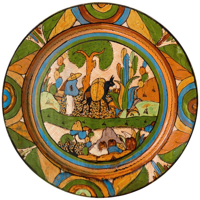 Tlaquepaque 1930s Mexican Hand-Painted Ceramic Charger Tray For Sale - Image 11 of 11
