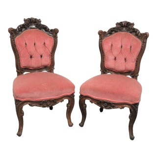 Victorian Rosewood Rose Carved Side Chairs - a Pair For Sale