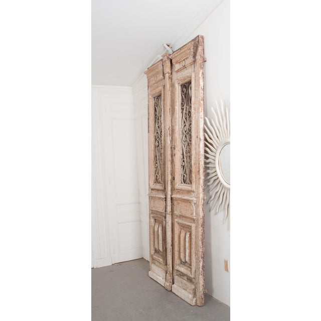 White Tall Pair of French Napoleon III-Style Early-20th Century Painted Pine and Wrought-Iron Exterior Entrance Doors For Sale - Image 8 of 11