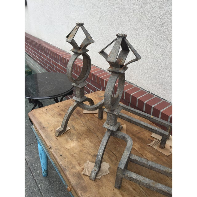 Distressed Wrought Iron Andirons Astrological - Image 5 of 9