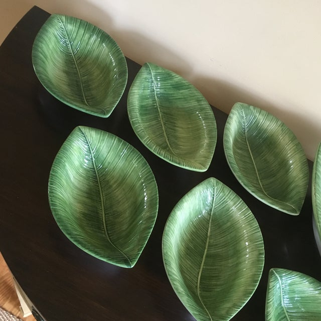 Traditional Chelsea House Porcelain Green Leaf Salad Bowl and Small Bowls - Set of 7 For Sale - Image 3 of 6