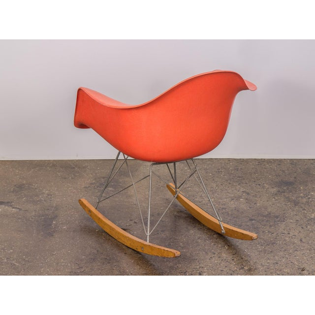 Eames Orange Armchair on Rocker Base For Sale In New York - Image 6 of 11