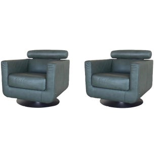 Modern Natuzzi Italia Swivel Suad Armchair - a Pair For Sale