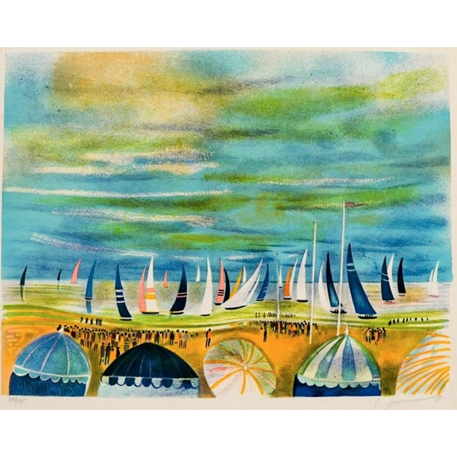 Mid-Century Modern Fench Beach Lithograph For Sale