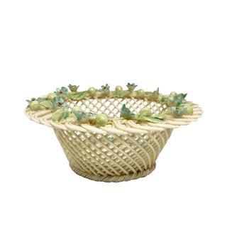 Vintage Irish Beleek Porcelain Openwork Basket For Sale