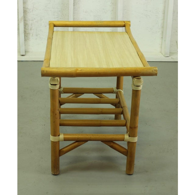 Mid-Century Modern 1960s Pagoda-Style Rattan Accent Table 001a For Sale - Image 3 of 4