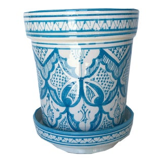 Modern Turquoise Safi Ceramic Planter For Sale