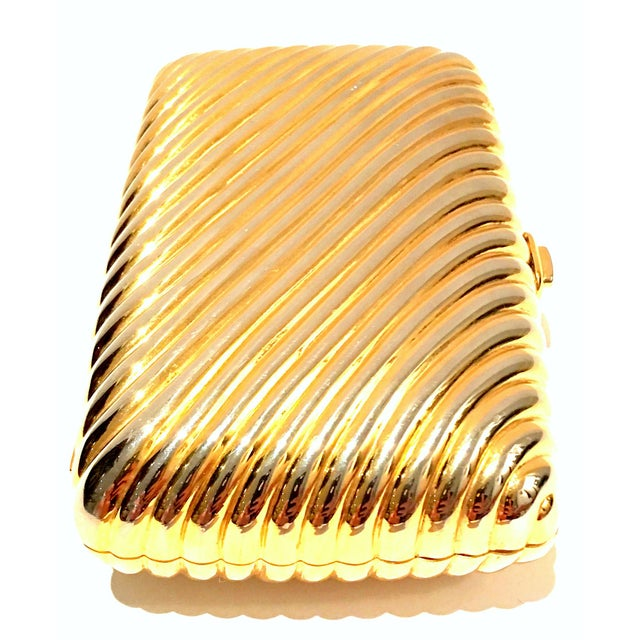 Judith Leiber 20th Century Judith Leiber Gold Ribbed Minaudière Box Clutch Evening Bag For Sale - Image 4 of 8