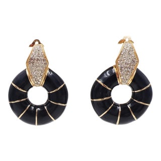 1980s Ciner Cabochon Pavé Rhinestone & Blue Enamel Hoop Earrings For Sale