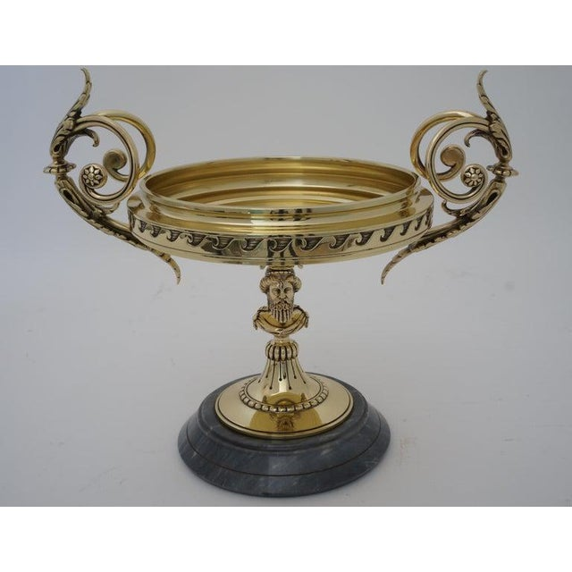 Neoclassical Antique Tazza Bronze on a Gray Marble Base - Neoclassical Ornamental Bowl on Pedestal For Sale - Image 3 of 11