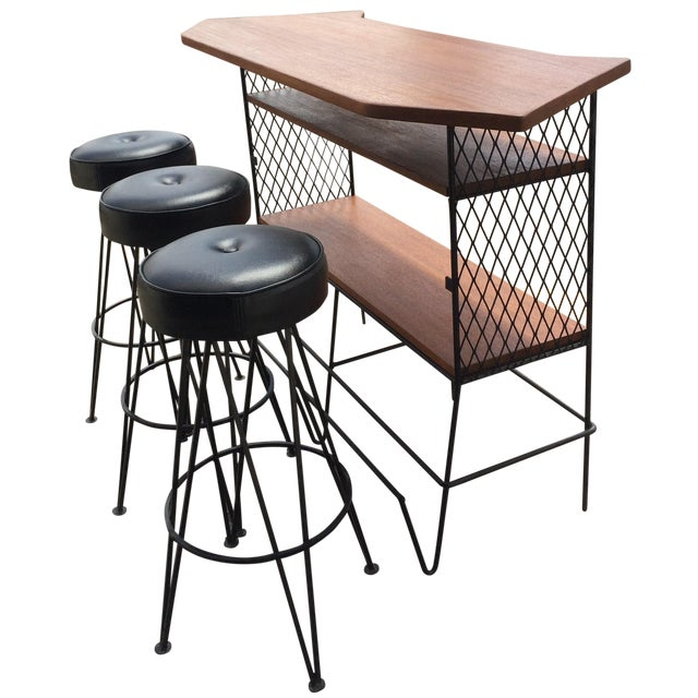 Frederick Weinberg-Attributed Bar & Bar Stools - Image 1 of 7