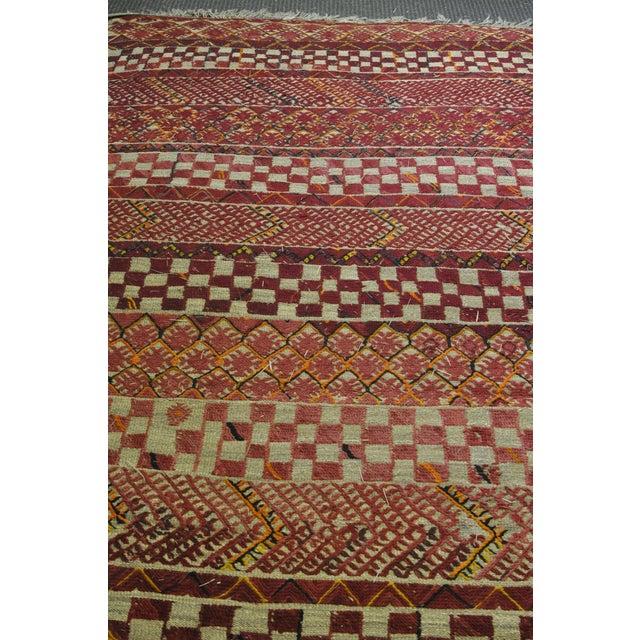 "Vintage Moroccan Wool Straw Rug - 6'8"" x 9'7"" - Image 4 of 4"