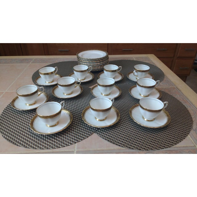 "Antique Tuscan ""Fine English"" Bone China Tea Cups & Plates- A Set, Made in England. * 12 Bread -Salad Plates 7"" * 11 Tea..."