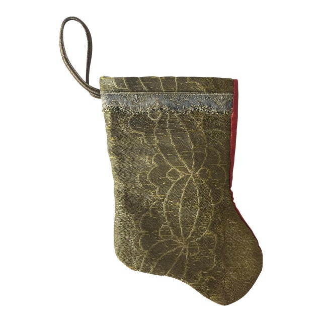 Antique Gold Brocade Stocking Ornament - Image 1 of 6