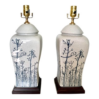 Vintage Light Blue Ceramic Chinoiserie Ginger Jar Lamps - a Pair For Sale