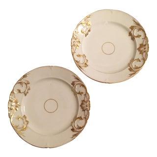 Vintage Porcelain & Gold Leaf Plates - A Pair