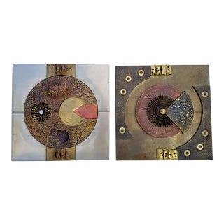 1970s Vintage Curtis Jere Style Mixed Metals Brutalist Wall Sculptures - a Pair For Sale
