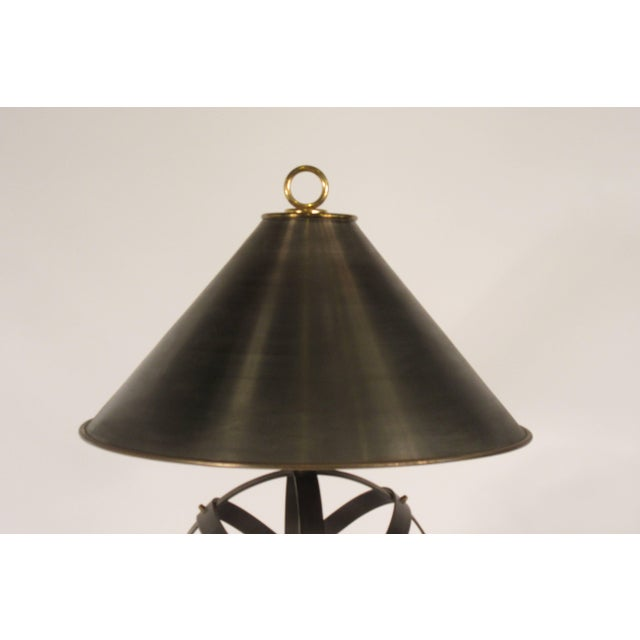 1970s Metal Orb Lamp With Metal and Brass Shade For Sale - Image 9 of 12