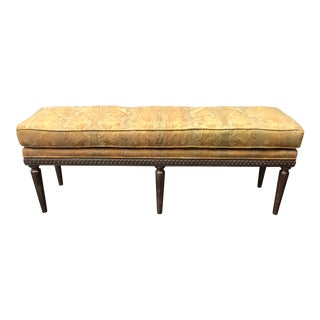 Custom Floral Bench +22k White Gold Finish For Sale