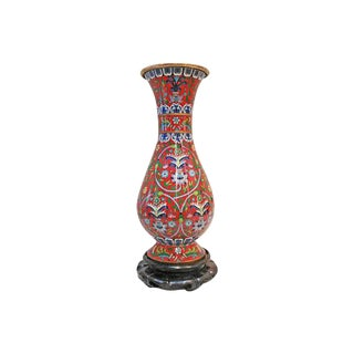Enamel vase decorated w/Flowers For Sale