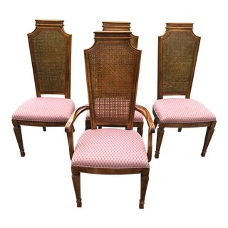 Mid-Century Caned-Back French Provincial Chairs - Set of 4 For Sale