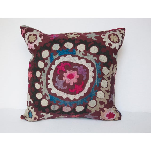 Vintage Handmade Needlework Suzani Throw Pillow Cover For Sale - Image 12 of 13