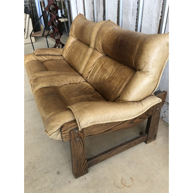 Wood 1970's Swedish Leather Loveseat For Sale - Image 7 of 10