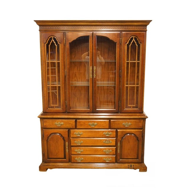 20th Century Traditional Bernhardt Furniture Solid Cherry Buffet With Illuminated Display China Cabinet For Sale - Image 13 of 13