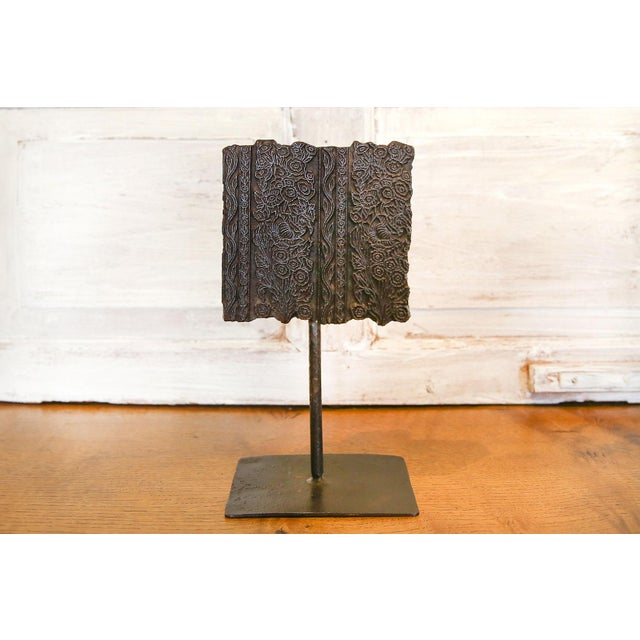 Early 21st Century Nashmia Wooden Block Print on Stand For Sale - Image 5 of 5