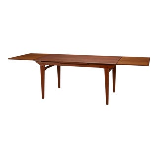 1960s Danish Modern Dining Table With Two Pull-Out Leaves For Sale
