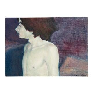 Vinatage Oil Portrait of Boy For Sale