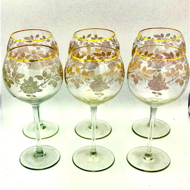 Baccarat Early 20th Century Antique French Baccarat Gold Encrusted Needle Etch Crystal Hock Glasses- Set of 6 For Sale - Image 4 of 13