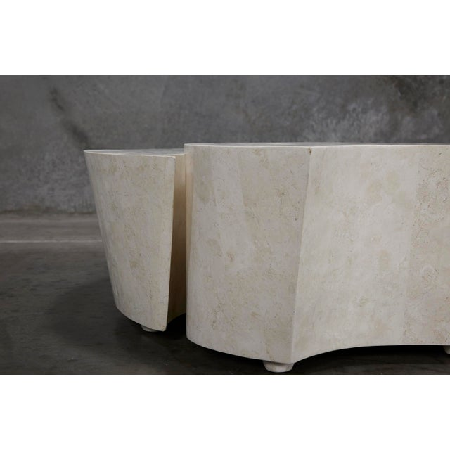 """1990s Contemporary Freeform White Stone Two Part """"Hampton"""" Coffee Table For Sale - Image 10 of 13"""