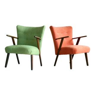 1950s Kurt Olsen Style Danish Teak Lounge Chairs - A Pair