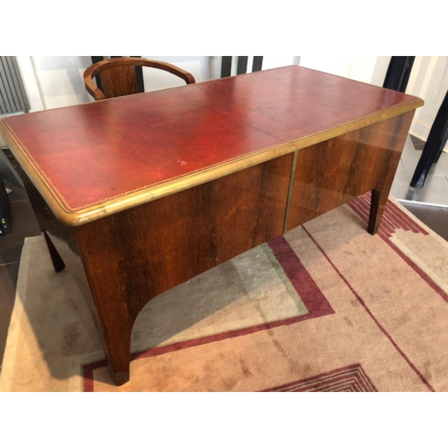 Paul Dupre´-Lafon (France, 1900-1971) Art Deco desk in rosewood, with gilded bronze and leather, circa 1930s.