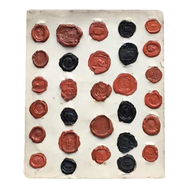 Antique English 29 Red and Black Intaglios Wax Seals For Sale