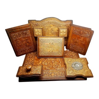 Vintage French Tooled Leather Desk Set - 7 Pieces For Sale