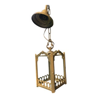 Victorian Style Gold Cast Iron Hall Pendant Light For Sale