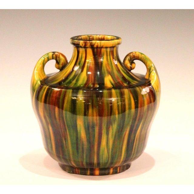 Awaji Pottery Art Deco Japanese Vintage Studio Vase in Yellow Flambe Glaze For Sale - Image 9 of 9