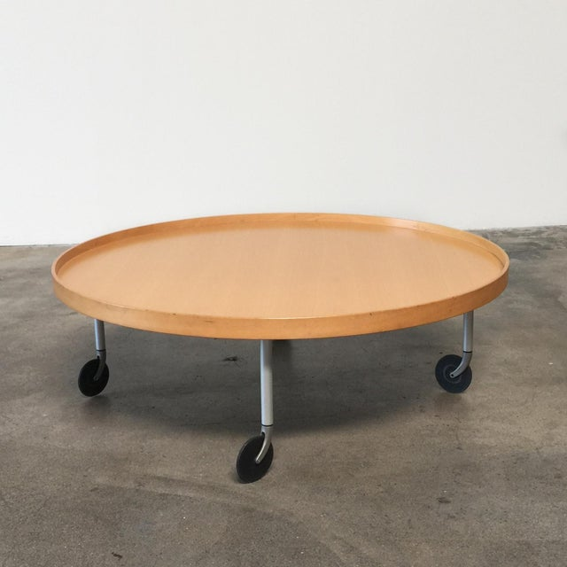 Ligne Roset Round Wooden Coffee Table With Wheels