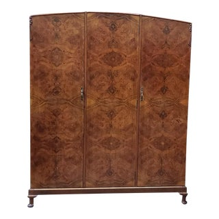 Awesome Burl Walnut Triple Door Armoire C.1930s For Sale