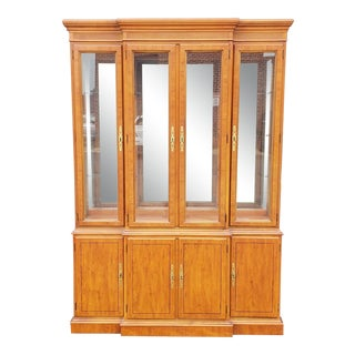 1990s Drexel Heritage Yorkshire Collection Yew Wood Dining Room China Cabinet For Sale