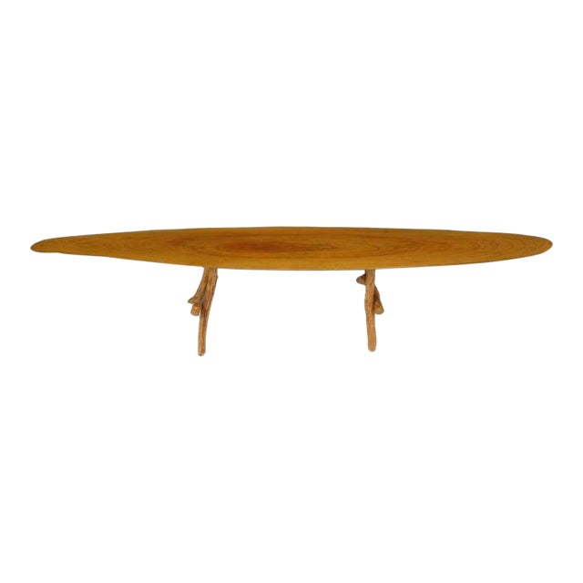 Adirondack Style Natural Wood Surf Board Coffee Table For Sale