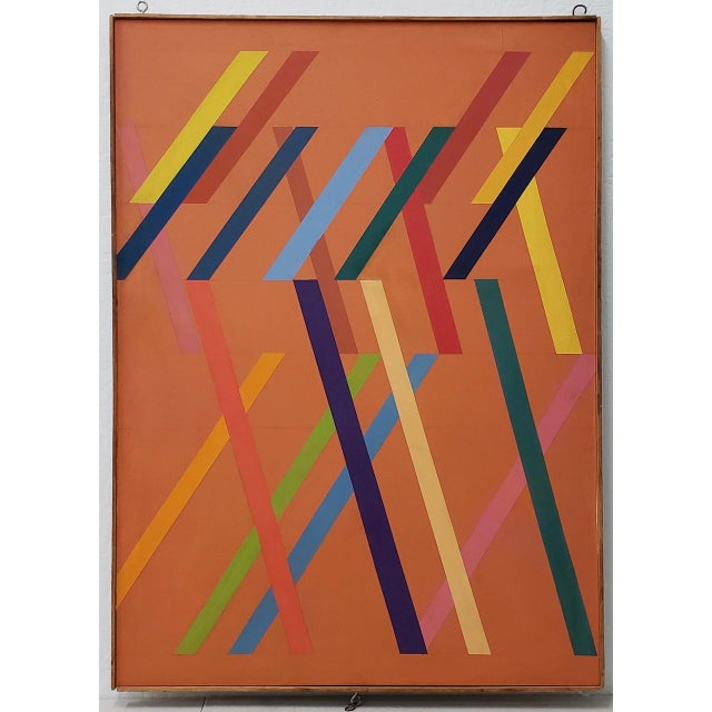 Tom Patrick (American, 20th C.) Vintage Geometric Abstract Painting on Canvas C.1970s For Sale - Image 11 of 11